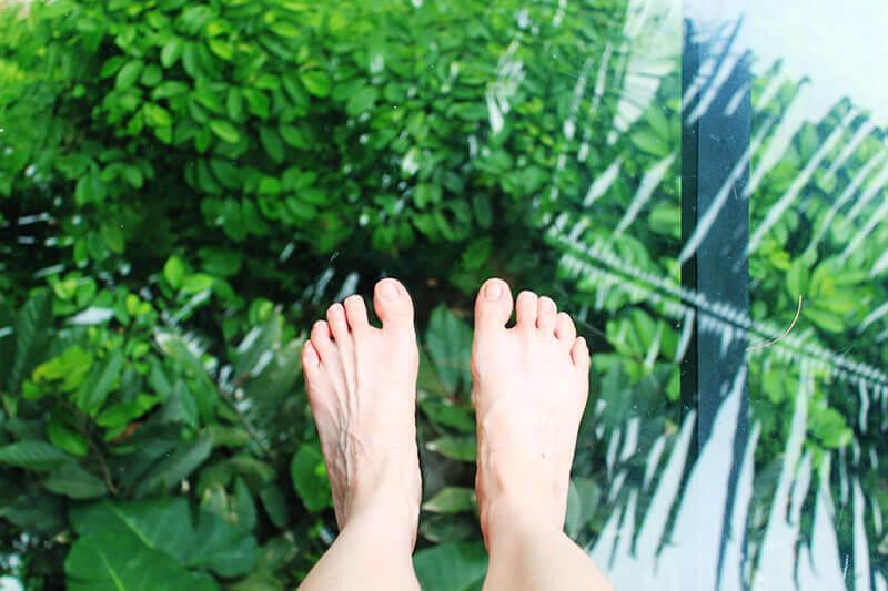 miracle covid19 life lesson fair skin feet stand on top of glass bridge green trees below_agirlnamedclara