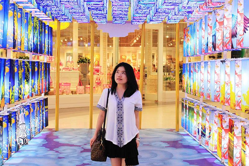 asian girl fair skin black hair colourful lantern gazing up thailand_agirlnamedclara