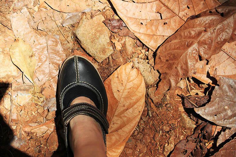black mary jane shoes explore jungle autumn brown leaf toraja indonesia trip_agirlnamedclara