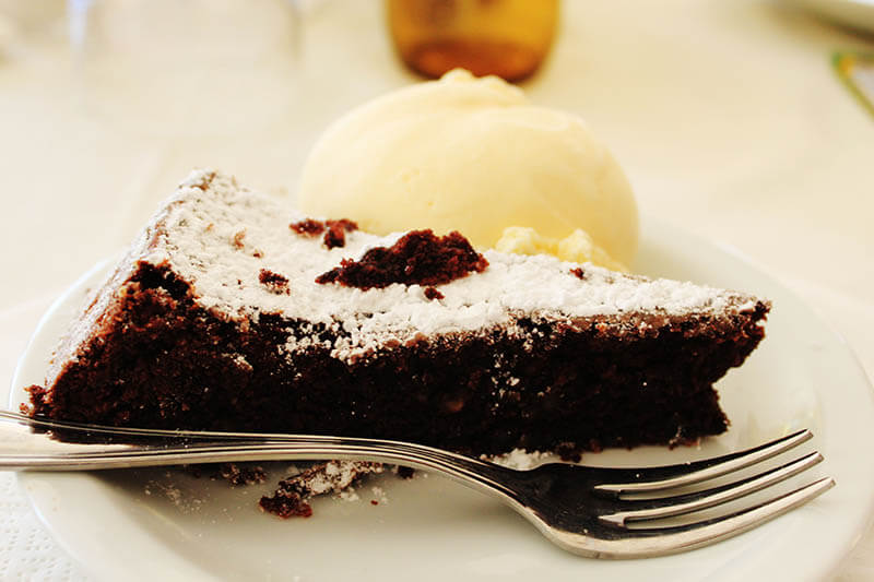 chocolate orange cake with ice cream capri italy agirlnamedclara