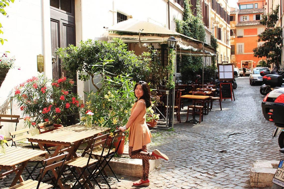 girl tourist smile trastevere cobbled stone rome italy summer agirlnamedclara
