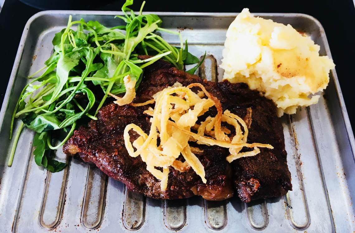 australia grassfed ribeye with rocket crispy onion mashed potatomaria's steakcafe malaysia agirlnamedclara