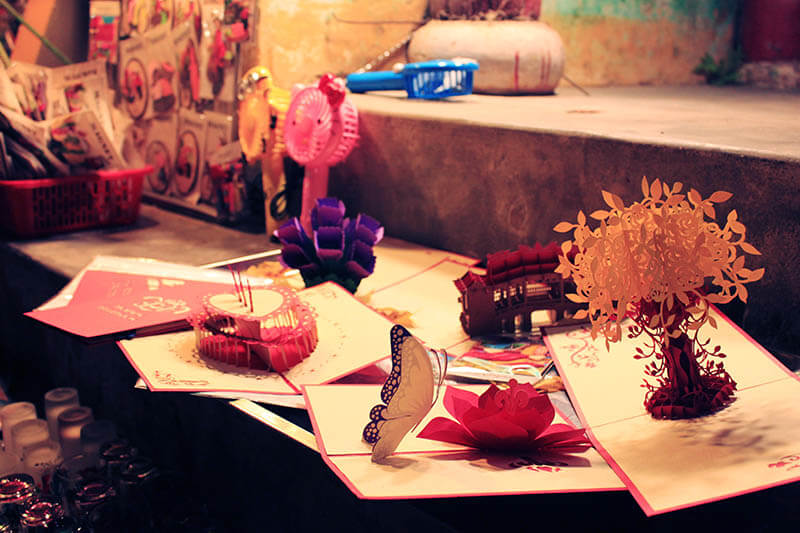 beautiful 3D greeting card hoi an night market agirlnamedclara