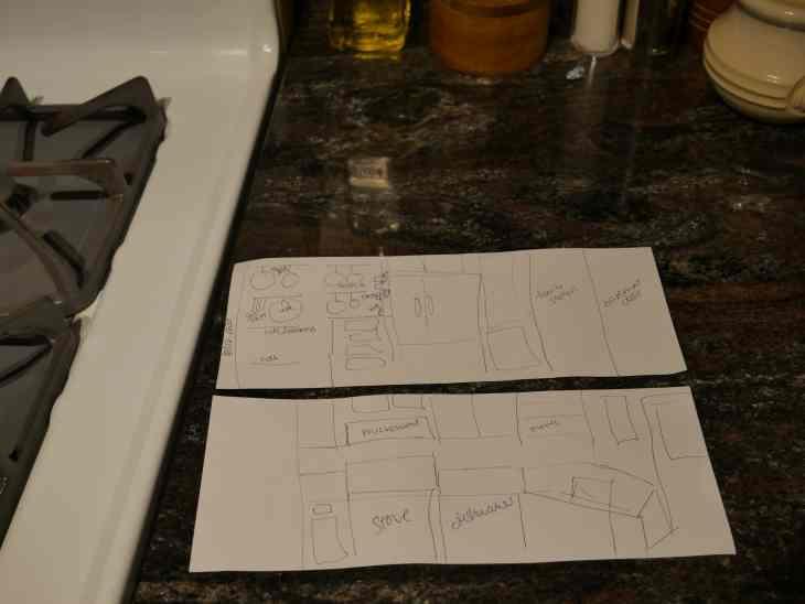 hand drawn kitchen plan