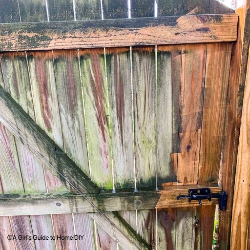 fence partially power washed