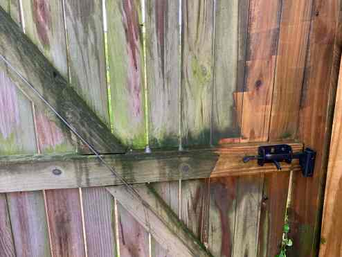 power washing the fence are the latch