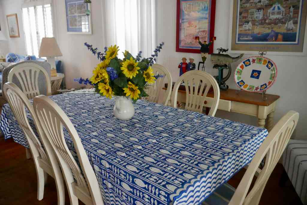dining room with floral arrangement