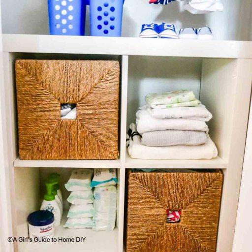 shelving unit in nursery closet