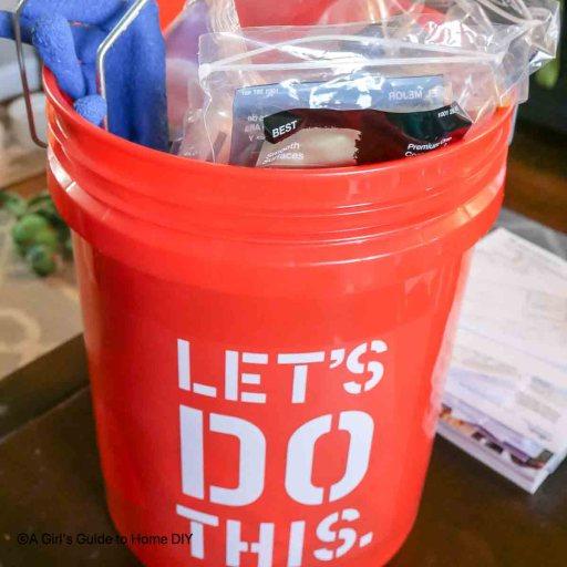 bucket full of supplies