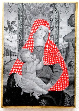 PALESTINIAN MADONNA (A.) / drawing on photocopy, glued on wood / 2010