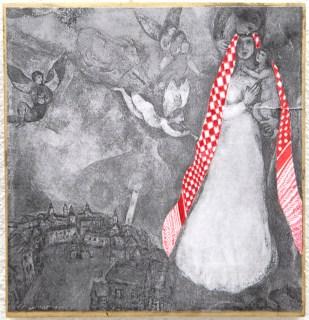 PALESTINIAN MADONNA (M. Chagal) / drawing on photocopy, glued on wood / 2010
