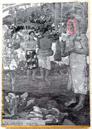 PALESTINIAN MADONNA (P. Gauguin) / drawing on photocopy, glued on wood / 2010