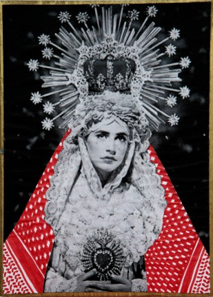 PALESTINIAN MADONNA (Pierre and Gilles) / drawing on photocopy, glued on wood / 2010