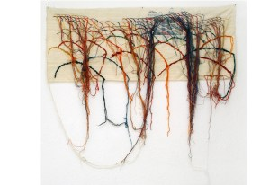 RE (LI) GIONS / newspaper hand embroidered wool of Persia on silk / 109x45 cm / 2006