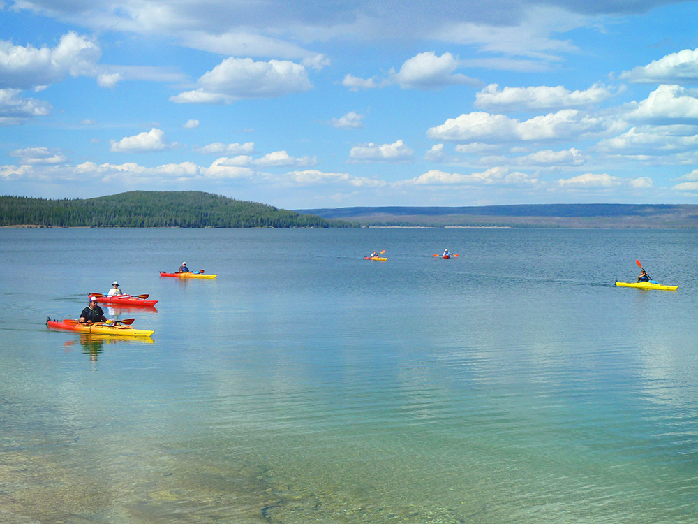 Kayaks on Yellowstone Lake, Yellowstone National Park