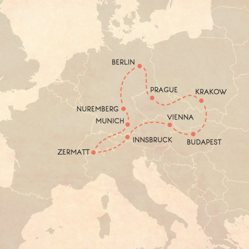 Central Europe Winter Itinerary Map
