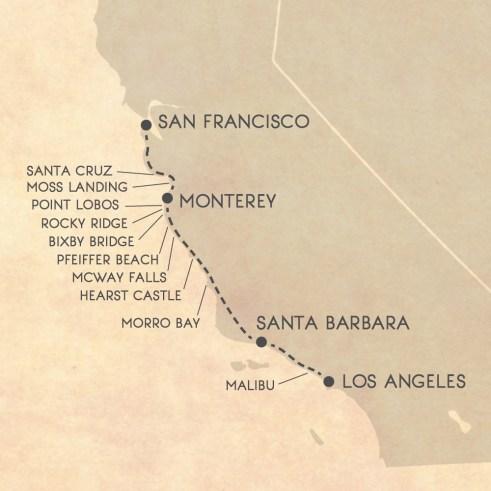 Big Sur road trip itinerary map