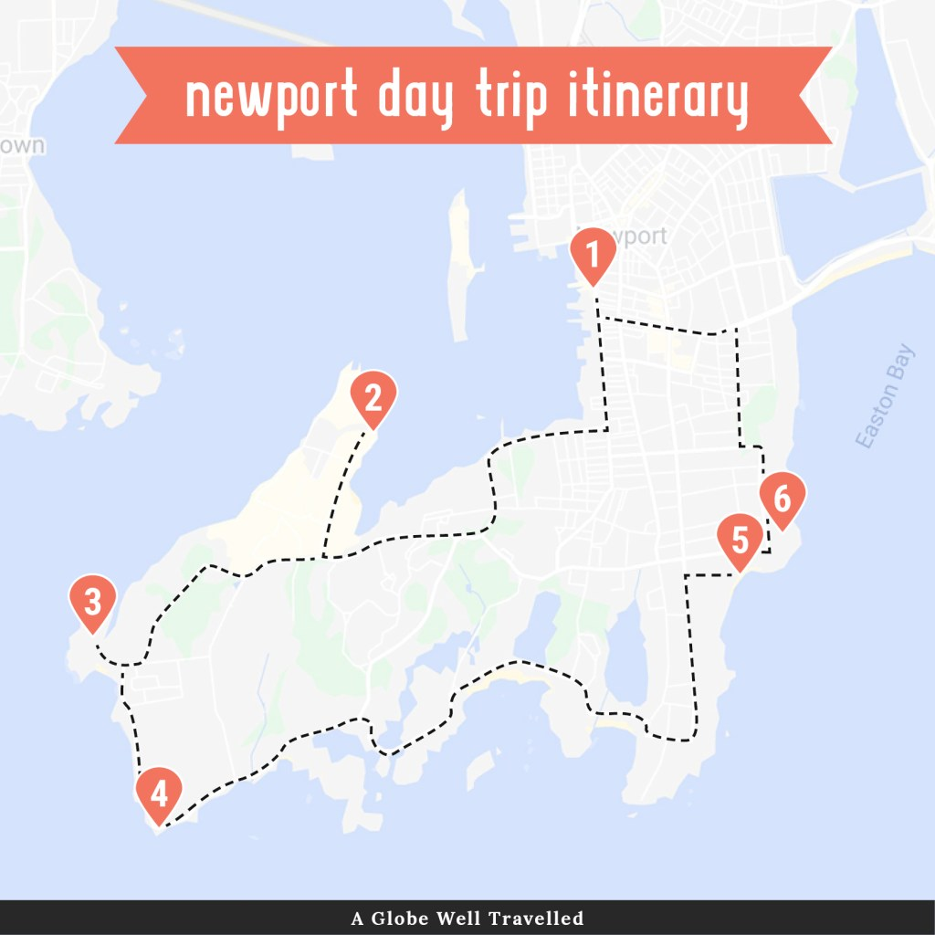 Newport day trip itinerary map