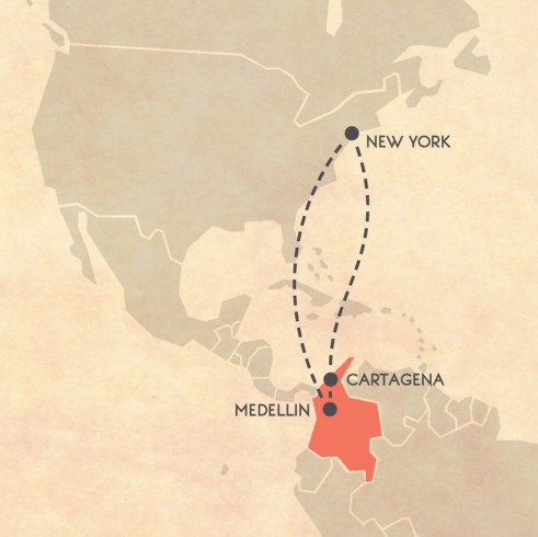 Trip Itinerary for Colombia map