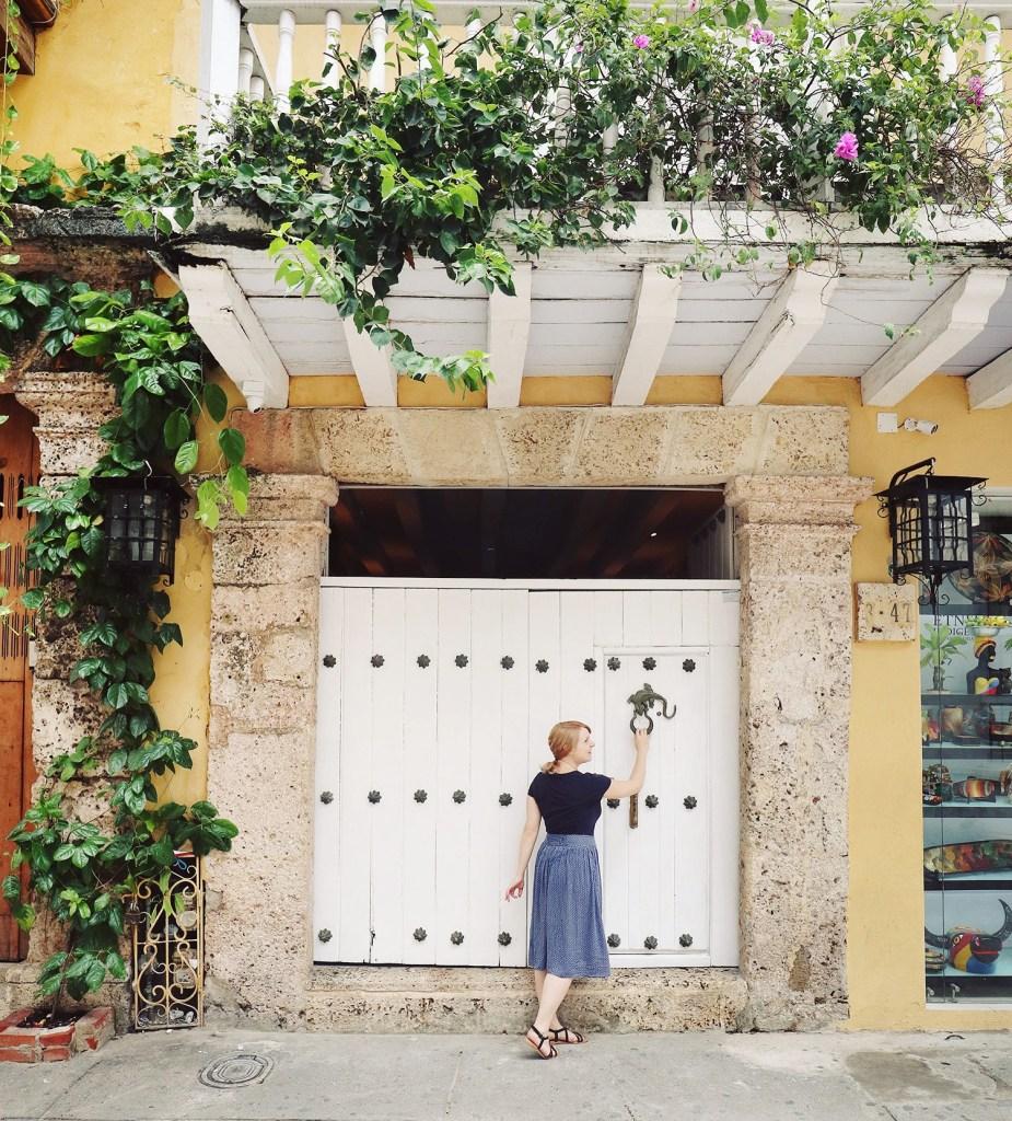 Pretty door in Cartagena, Colombia