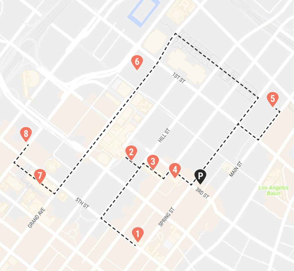 Self-guided walking tour map DTLA