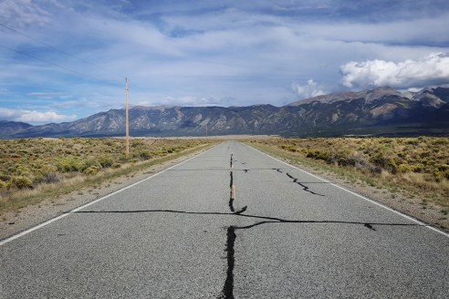 Driving through the desert plains, Colorado