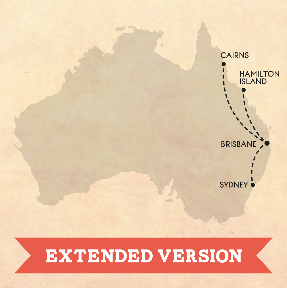Australia's east coast road trip map