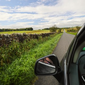 Driving along Hadrian's Wall, England, UK