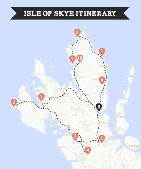 Isle of Skye itinerary map