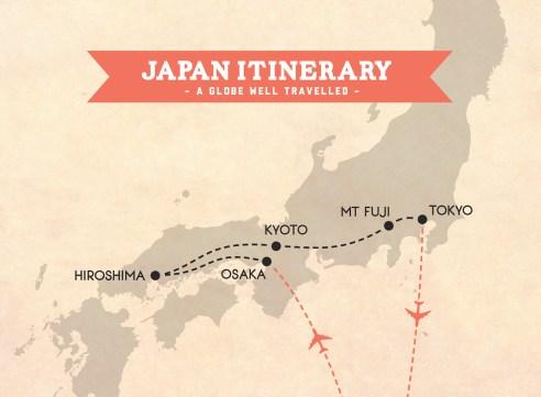 Japan itinerary trip map