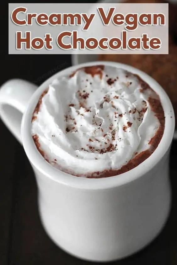 Creamy vegan hot chocolate.