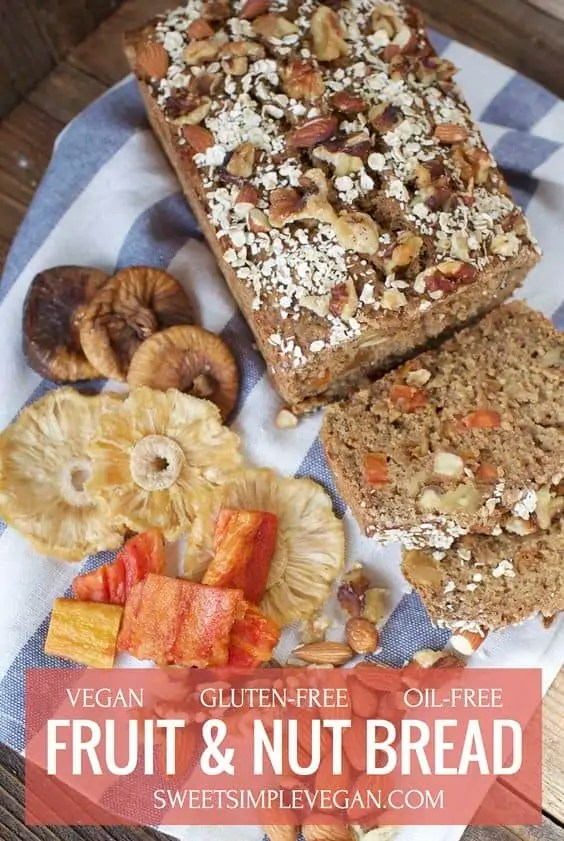 Vegan fruit and nut bread, with a side of dried fruit.