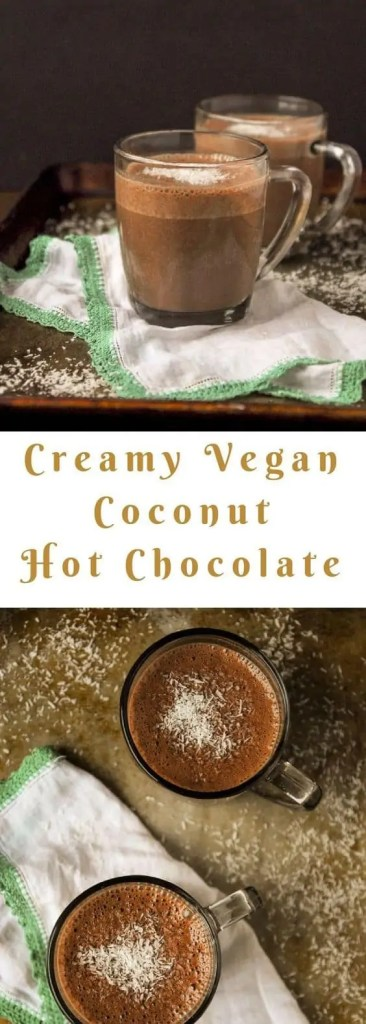 Creamy coconut hot chocolate drink.