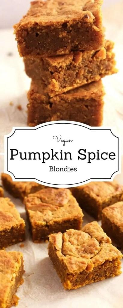 Delicious vegan pumpkin spice blondies.