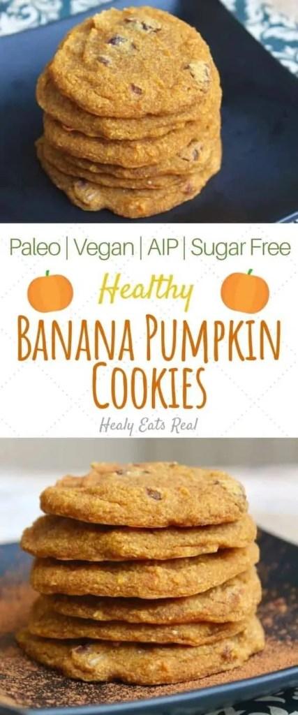 Healthy vegan banana pumpkin cookies