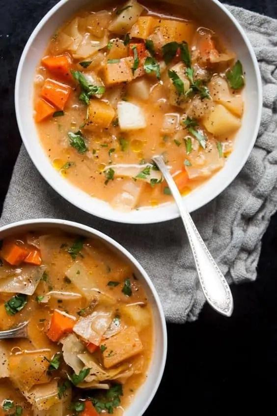 Cleansing vegan winter vegetable miso soup