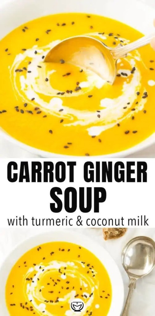 Creamy carrot and ginger vegan soup