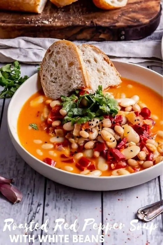 Roasted red pepper soup with white beans and bread