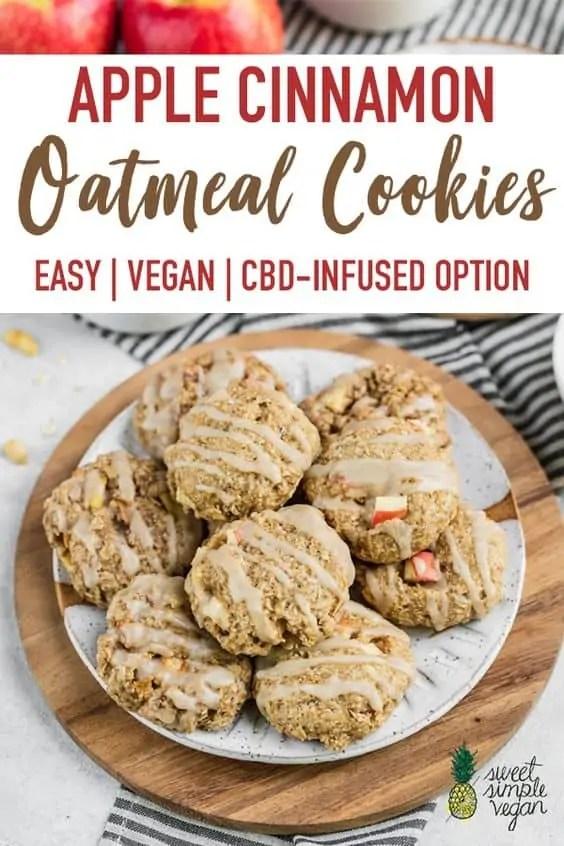 Vegan fall apple cinnamon oatmeal cookies