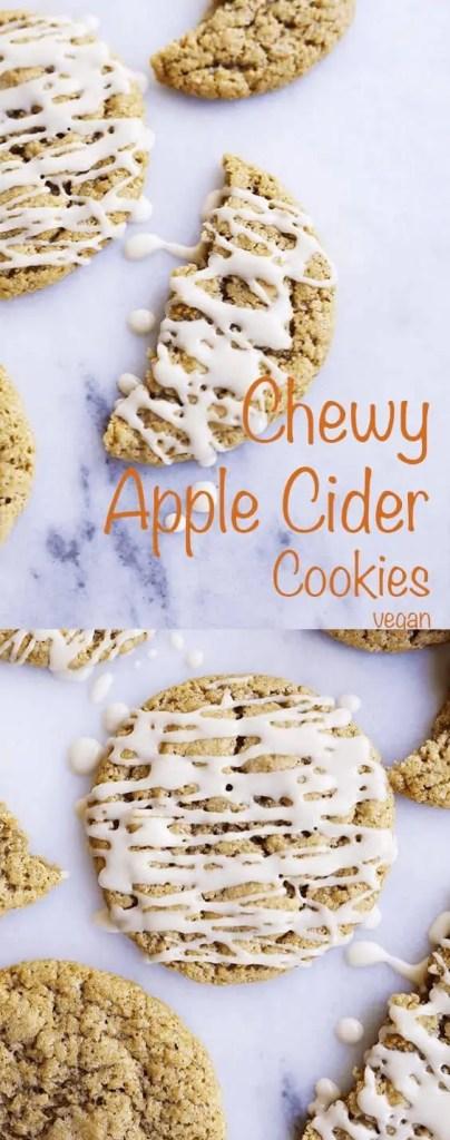 Vegan chewy apple cider cookies