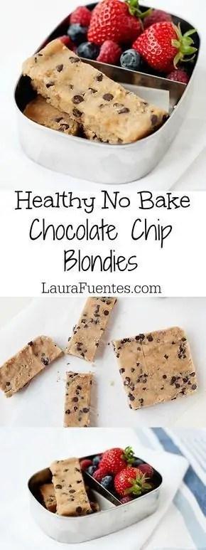 Healthy chocolate chip blondies
