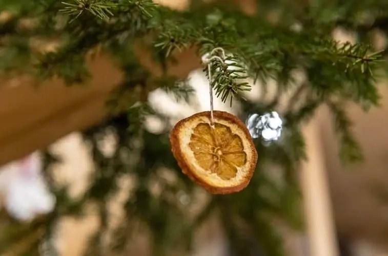 A zero waste and natural orange Christmas tree decoration