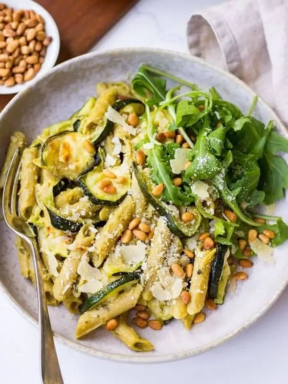 Pesto Pulse Pasta with Roasted Zucchini