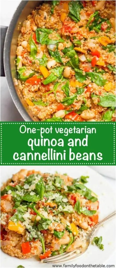 One pot quinoa cannellini beans skillet