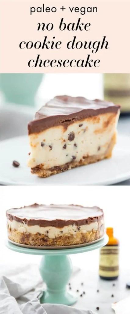 Vegan No Bake Cookie Dough Cheesecake