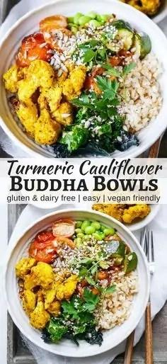 Roasted Turmeric Cauliflower Buddha Bowls