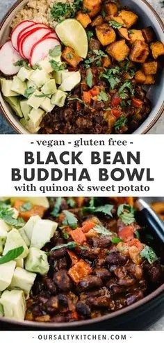 Black Bean Buddha Bowls with Sweet Potato and Quinoa
