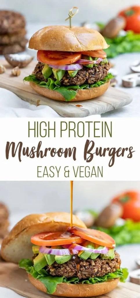 Vegan High-Protein Teriyaki Mushroom Burgers