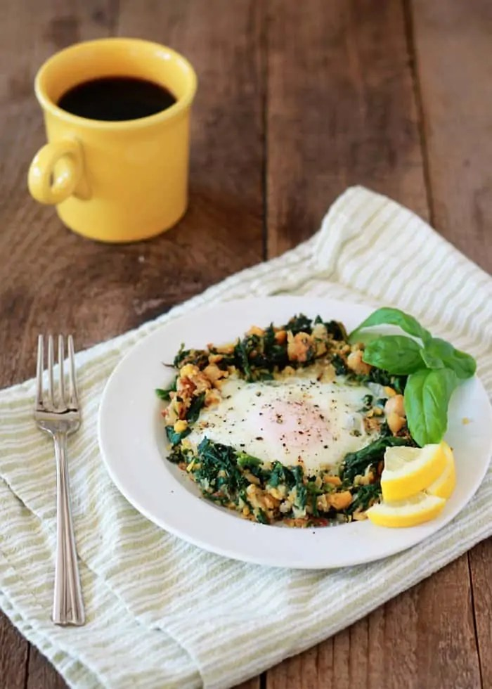 Lemony Egg in a Spinach Chickpea Nest