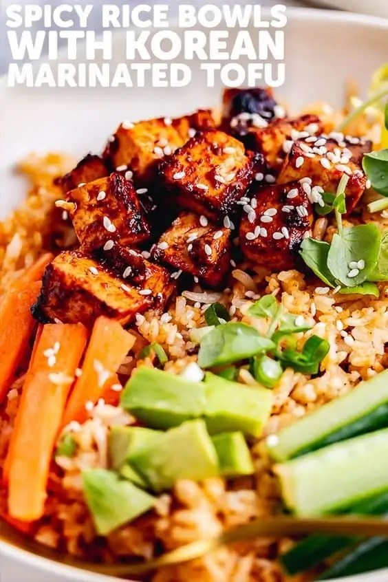 Spicy Rice Bowls with Korean Marinated Tofu